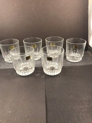 "Arcoroc LANCER on the Rocks Glasses Set of 6 Clear 8 oz 3-1/2"" tall - New"