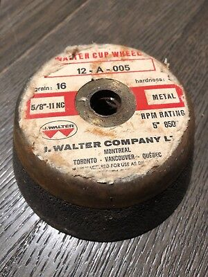 """Walter Grinding Cup Wheel 5"""" x 5/8"""" 11 Arbor, Grit A-16 12A005"""