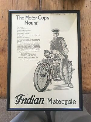 """1919 INDIAN Police Motorcycle Print Ad """" The Motor Cops Mount"""""""