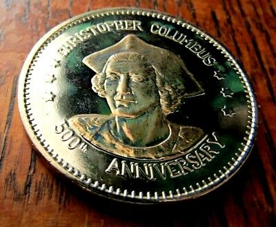 1492=1992 500Th Anniversary Columbus Discovery  Proof Medal Silvered & Gilded
