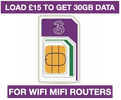 Three Network 4G Sim card Full 4G Unlimited data for 90 days