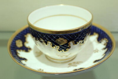 Tea Bowl Cup & Saucer 19th Antique of English Porcelain Salopian NUMBERED