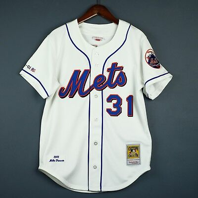 100% Authentic Mike Piazza Mitchell & Ness 2001 Mets MLB Jersey Mens Size 40 M
