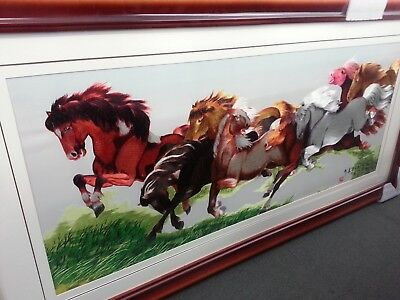 Asian Redwood Picture Frame Silk image of Galloping Horses