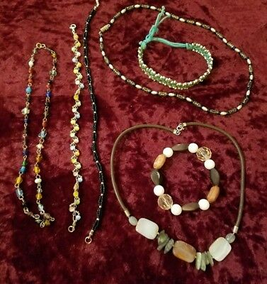 7 Lot stone beaded Woven Wire Work bracelet ankle necklace Trendy colorful 1-925