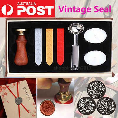 Vintage Seal Sealing Wax Stick Stamp Set For Letters Wedding Party Invitation AU
