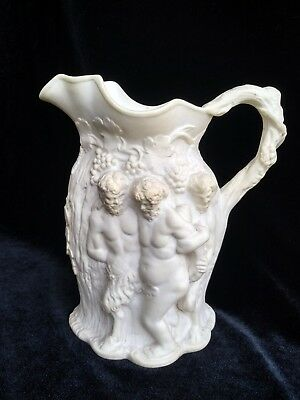 """Rare Antique Greek Motif Bisque Small 5 1/2"""" Tall Pitcher Good Condition"""