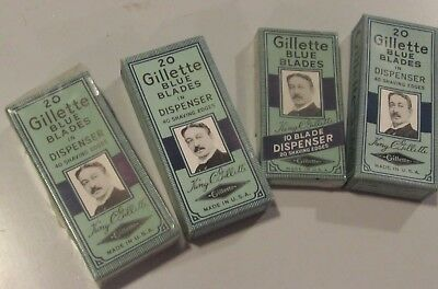 Lot of 4x NOS Gillette Blue Blade Dispensers in Original Boxes. 70 New Razors!