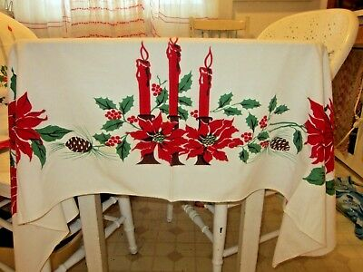Outstanding Vintage Christmas Tablecloth Poinsettias Holly & Berries Candles