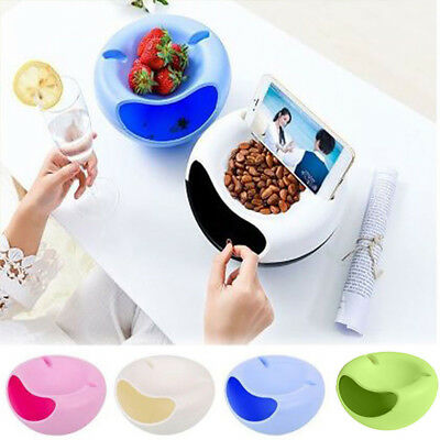 Home Lazy Tools Double Layer Snack Fruit Plate Bowl Dish with Phone Holder