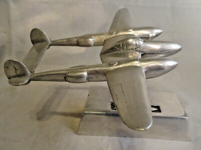 "Aluminum P-38 Lightning Aircraft Desk Model With Base 8 3/8"" Wingspan"