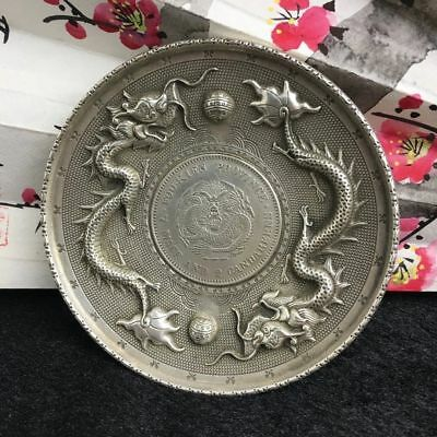 Chinese Miao Silver Ssangyong Play Pearl Writing-Brush Washer Plate