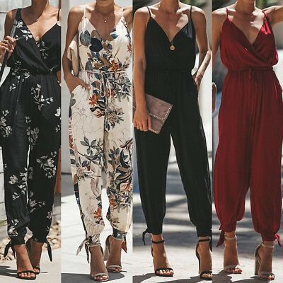 919877400450 Womens Summer V Neck Playsuit Bodycon Clubwear Party Jumpsuit Romper  Trousers US