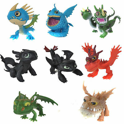 How to Train Your Dragon Action Figures 8 pcs Set Toothless Night Fury Nadder w/