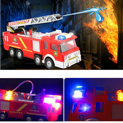 Mini Simulated Fire Truck Kids Educational Toys Siren 360° Revolved Ladder Gifts