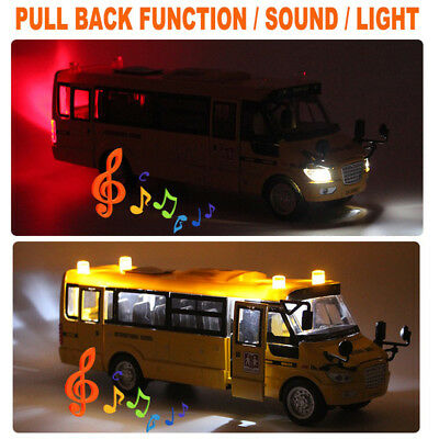 1:32 Sound Light Metal School Bus Model Open Doors Pull Back Car Toys Kids Gift
