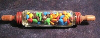 Vintage glass rolling pin CANDY CONTAINER  V. G. Co. AVOR rare