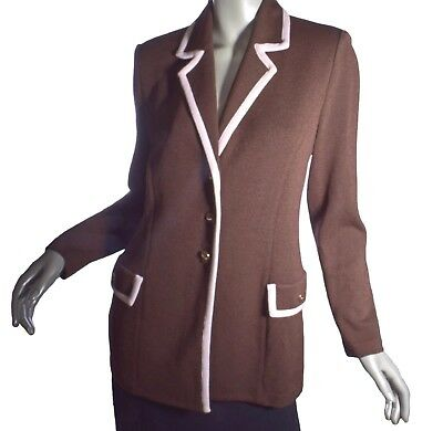 St John Collection Marie Gray: Brown Santana Knit Long Suit Jacket Blazer Size 8