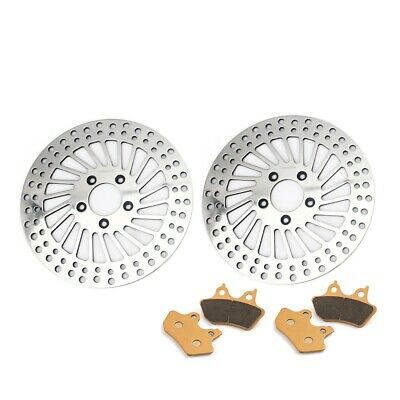 Polished Front Brake Rotors Pads for Harley Touring 1450 Electra Glide Road King