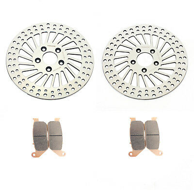 "11.5"" Polished Front Brake Rotors Pads for Harley Sportster 883 1200 XL R 05-08"