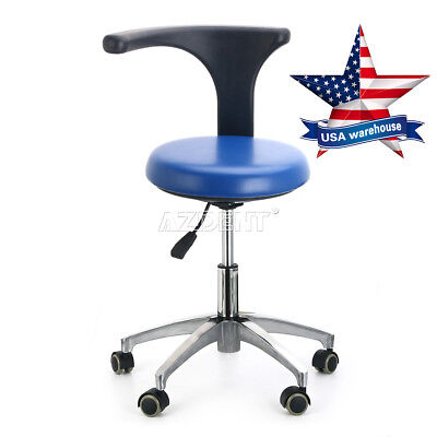 Dental Doctor Assistant Stool Adjustable Height Mobile Chair PU Hard Leather USA