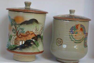 Vintage Pair of Hand-Painted Red Clay Japanese Lidded Tea Cups, Pretty w/ Flaw