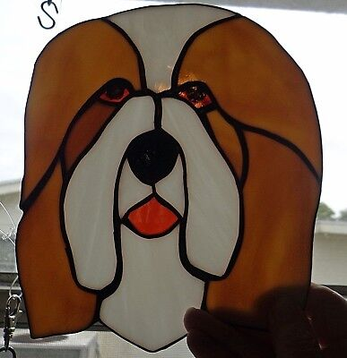 Stained Glass Dog - Bearded Collie - Tan