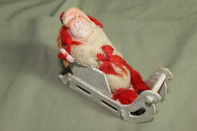 Antique 1920's Christmas Celluloid & Cloth Santa Claus in White Sleigh