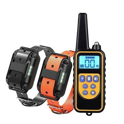 Shock Training Collar Electronic Remote Control Waterproof 875 Yards 2 Dogs