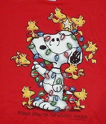 Snoopy And Woodstock Christmas Images.Peanuts Snoopy Woodstock Christmas T Shirt Ss Friends Red Mens Small