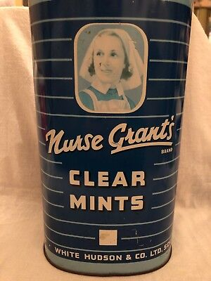 Vintage 5 Lbs Nurse Grant's Clear Mints Tin Metal Container 1950s White Hudson