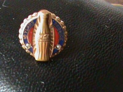 Coca Cola Ten Year Service Pin 10 K Gold and Small Pearls