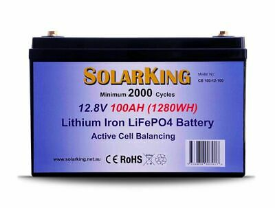 Solarking 12V 100ah Lithium LiFePo4 Deep Cycle Solar Battery FREE Shipping