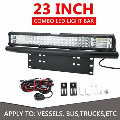 23 inch Tri-row CREE LED Combo Light Bar + 23'' Number Plate Frame Mount Bracket