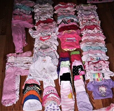 Baby girl newborn 0/3 - 3/6- 6/9 months  outfit clothes lot 90 Piece