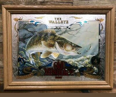 "Old Milwaukee Bar Mirror ""WALLEYE"" no.4 in series 21 x 16 wild life Series"