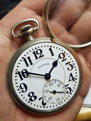 VINTAGE 16s Bunn Special 21j Illinois railroad grade pocket watch ca.1919 *RUNS*