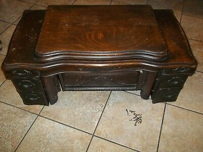 Antique White Treadle Sewing Machine Complete Cabinet Top with 6 Drawers Ornate