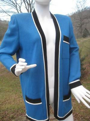 St. John Sportswear by Marie Gray Open Front Jacket Blue Knit Women's Size S USA