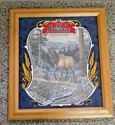 "Old Milwaukee Bar Mirror  ""ELK"" 1 of  8 in series 17 x 19 wild life Series 2"