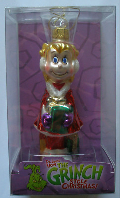 """* Grinch Cindy Lou With Present  * Dr Seuss Blown Glass New Ornament 5"""" -Rare-"""