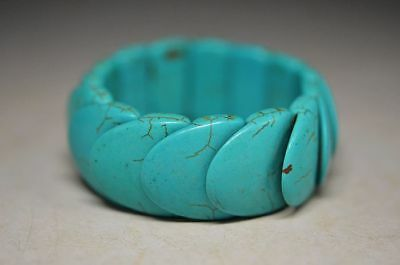 Chinese Natural Turquoise Hand Knit Elastic Bracelet