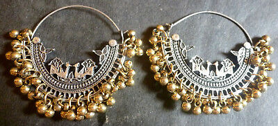 Antique Silver Golden Combo Colour Bead Setting Circle Ring Earrings Jhumka