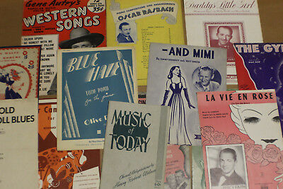 Large Lot of Early 1900s Antique Sheet Music Ranges from 1940-1949