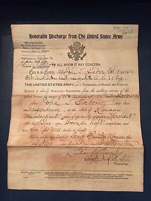 WWI Soldier's Honorable Discharge - Enlistment Record Document - USA Army No 525