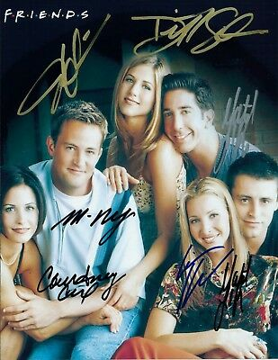 Friends Tv Show - Cast Hand Signed (By All)  Color Photo / Coa