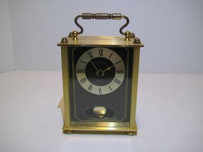 "Vintage Black Forest Carriage Clock With Swinging Pendulum ~ 5.5"" X 6.5"" X 2.5"""