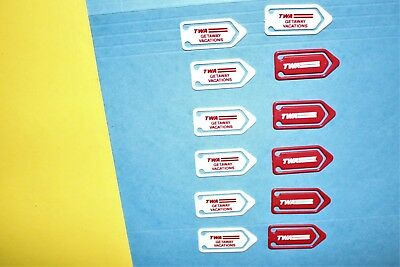 12 Twa Airlines Getaway Vacations Red White Plastic Bookmark Paper Clip Set Lot