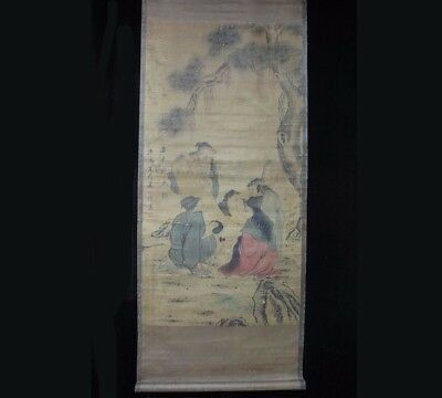 """Vivid Old Very Large Chinese Scroll Hand Painting Figures """"TangYin"""" Marks"""