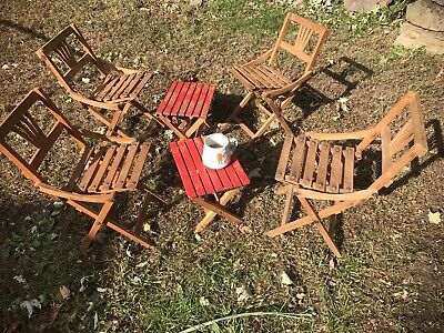 Vintage Children Picnic Table Outdoor Chairs Furniture Portable Folding Camping